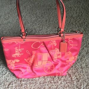 COACH pleated horse and carriage tote